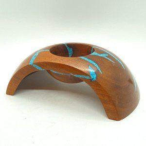 Art Signed Turquoise Wood Sculpture Candleholder